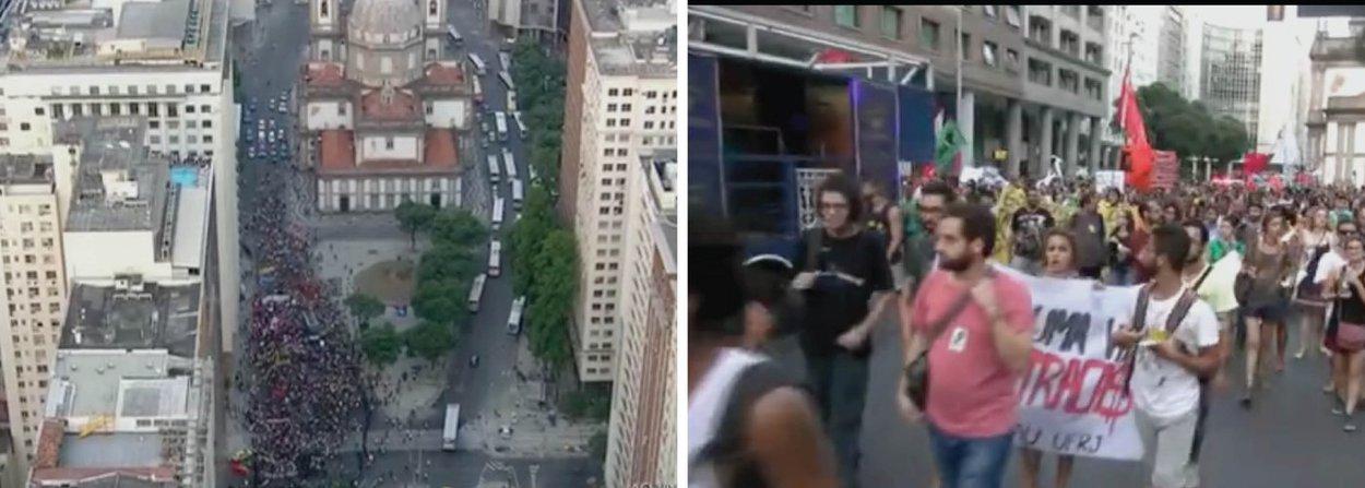 Manifestação contra o aumento das passagens de ônibus no Rio de Janeiro terminou em confronto entre alguns manifestantes e a Polícia Militar nesta sexta-feira, 8, na Central do Brasil, centro da capital fluminense; por volta das 21h, o cenário do lado de fora da estação era de guerra, com objetos queimados e novo confronto entre a cavalaria da PM e manifestantes; alguns participantes do protesto foram detidos; tumulto começou quando bombas caseiras foram atiradas por alguns manifestantes na Avenida Presidente Vargas; polícia respondeu com bombas de efeito moral e de gás lacrimogênio