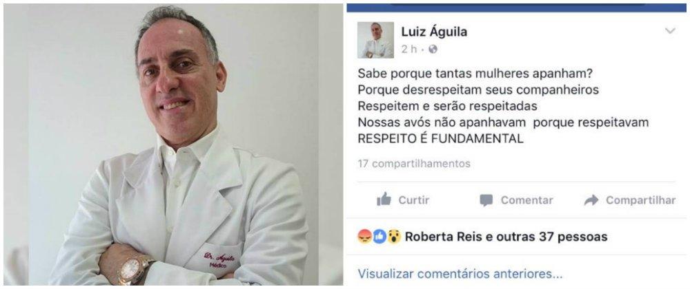 Cardiologista publicou mensagem em defesa do filho, acusado de agredir a esposa grávida de quatro meses; médico também responde por denúncias na Delegacia da Mulher