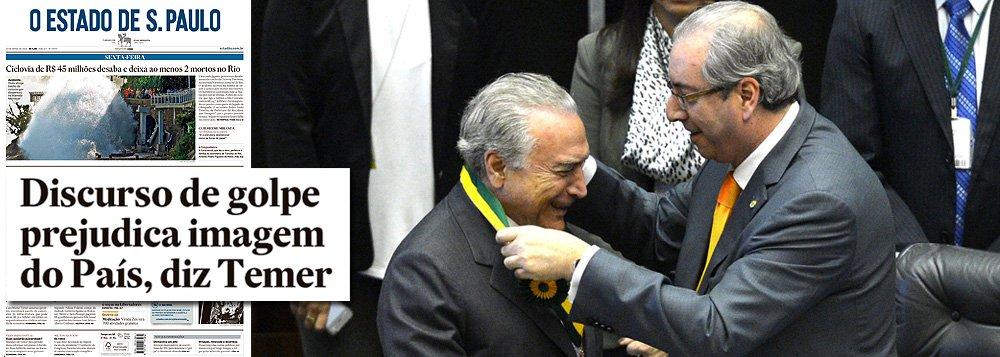 Não, não é o fato de a democracia brasileira ter sido golpeada por políticos corruptos, que se somaram aos derrotados na última eleição presidencial, que mancha a imagem do Brasil no exterior, mas sim o fato de se pretender denunciar este golpe ao mundo; essa é a lógica dos que tentam censurar a presidente Dilma Rousseff e impedi-la de dizer ao mundo o que as principais publicações do mundo já afirmam abertamente: a trama que culminou no vergonhoso 17 de abril nada mais é do que uma conspiração golpista