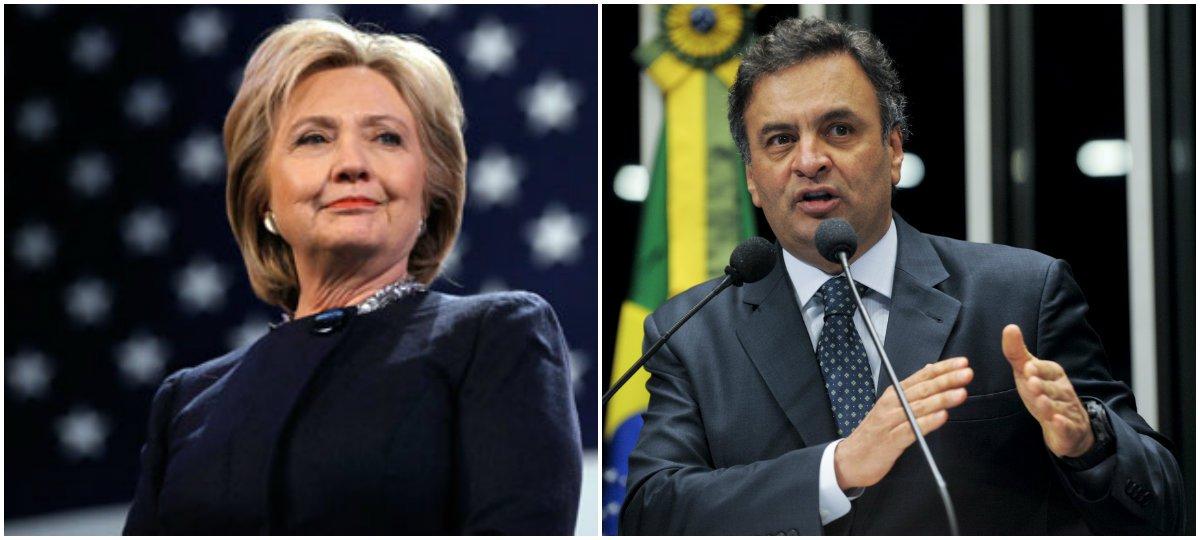 """O jornalista Paulo Nogueira, do Diário do Centro do Mundo, afirma que """"a maior lição que as eleições americanas trouxeram para o Brasil coube num tuíte de autoria de Hillary Clinton"""", no qual ela reconheceu Donald Trump como """"nosso presidente""""; segundo Nogueira, """"gestos como o de Hillary consolidam democracias, unem as pessoas, abençoam as urnas, celebram a vontade popular"""" e são o posto do que foi feito pelo senador Aécio Neves, que não aceitou a derrota para Dilma Rousseff em 2014, levando à sabotagem da democracia brasileira"""
