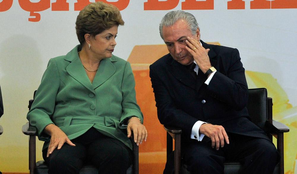 O ministro da Casa Civil, Aloizio Mercadante, a presidenta, Dilma Rousseff e o vice-presidente Michel Temer, participam do lançamento do Plano Agrícola e Pecuário (PAP) 2015-2016 (Elza Fiúza/Agência Brasil)