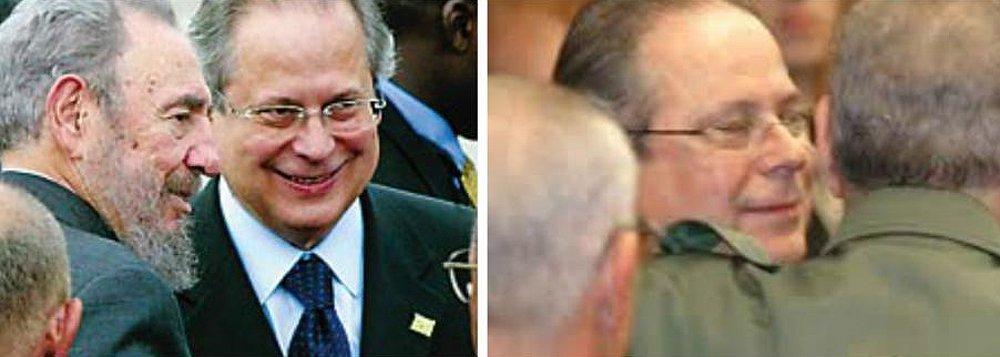 """Ex-ministro José Dirceu, que foi preso na Ação Penal 470, o chamado escândalo do mensalão, e que recentemente voltou a ser condenado no âmbito da Operação Lava Jato, relembrou, por meio de uma carta aberta, quando conheceu o líder revolucionário cubano Fidel Castro. Dirceu viajou à Cuba como um dos presos políticos trocados pelo embaixador norte-americano Charles Elbrick, em 1969, durante a ditadura militar; para Dirceu, Fidel""""foi um símbolo de esperança e fonte de inspiração para os pobres, deserdados, explorados e oprimidos de todo o mundo""""."""