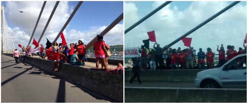 A Frente Brasil Popular, formada por diversas organizações e movimentos sociais, realiza uma série de protestos contra o golpe, nesta sexta-feira (15), em Sergipe, assim como ocorre no restante do país; na ponte Aracaju/Barra dos Coqueiros, o protesto ocorre de forma pacífica, sem interdição da via; o Movimento dos Trabalhadores Rurais Sem Terra (MST), por sua vez, bloqueia várias estradas em Sergipe