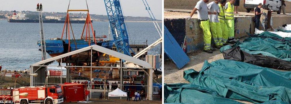 O naufrágio, que matou 500 imigrantes, foi um dos piores desastres conhecidos envolvendo imigrantes que tentavam chegar à Europa pelo mar;o barco foi retirado do leito do mar e levado a uma instalação naval na Sicília na semana passada