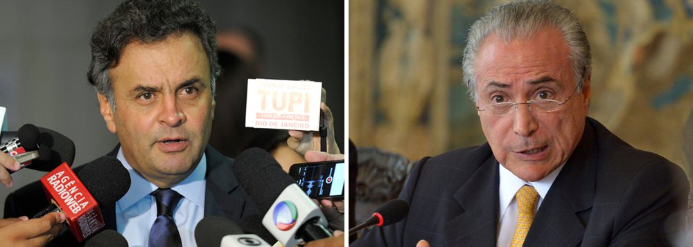 """Em reunião recente com a bancada do PSDB, o presidente nacional do partido, senador Aécio Neves, defendeu que a legenda não deve discutir a participação em um possível governo do PMDB: """"Nosso projeto político não é esse"""", disse; segundo ele, o PSDB """"é a peça-chave"""" para garantir a governabilidade da gestão Temer, caso o impeachment de Dilma Rousseff aconteça; a visão se contrapõe a do senador tucano José Serra, que tem trabalhado para aproximar os dois partidos e cogita até um ministério; ele também pode deixar o PSDB para se lançar à Presidência em 2018 pelo PMDB"""