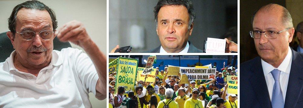 """Para Carlos Araújo, ex-marido e conselheiro da presidente Dilma Rousseff, o tucano e o grupo ligado a ele no PSDB estão por trás dos protestos que pedem a saída da presidente; segundo ele, Aécio Neves (PSDB-MG)estaria incentivando o impeachment para viabilizar uma nova candidatura à presidência em um curto espaço de tempo e sabotar uma eventual candidatura de Geraldo Alckmin em 2018; """"Se for para 2018, o partido não vai deixar ele [Aécio] ser candidato. Será o Alckmin, todo mundo sabe. Aécio tem interesse em fazer uma eleição imediata para impedir a candidatura de Alckmin"""", afirmou; Araújo ressaltou aindaque """"não podem fazer o impeachment a todo custo"""" e que """"Aécio quer rasgar a Constituição"""""""