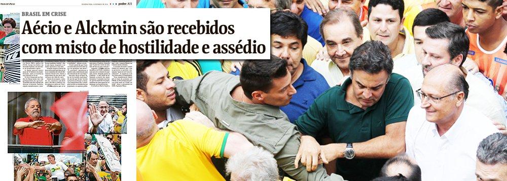 """Jornal diz que tucanos Geraldo Alckmin e Aécio Neves foram recebidos na Avenida Paulista neste domingo com um """"misto de hostilidade e assédio""""; governador e senador, porém, foram na verdade xingados dos nomes mais impronunciáveis, além de """"corruptos"""", e praticamente expulsos do local, de onde saíram em meia hora"""