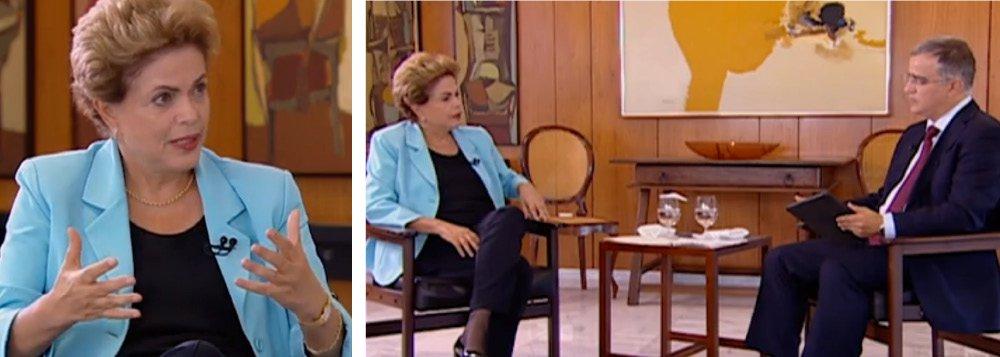 """A presidente Dilma Rousseff disse nesta quarta (12), em entrevista ao jornalista Kennedy Alencar, exibida no telejornal """"SBT Brasil"""", que não pretende deixar o cargo antes de concluir seu segundo mandato; """"Jamais cogito renunciar"""", afirmou ela, que criticou a tentativa de tirarem do poder uma """"representante legitimamente eleita pelo voto popular""""; """"Democracia exige respeito à instituição. Esse respeito à instituição é fundamental não é pra mim, para o meu caso, mas para todos os que vierem depois de mim"""", ressaltou; a presidente reconheceu que """"a cultura do golpe existe ainda"""", mas frisou que """"não há condições materiais de isso ocorrer""""; questionada sobre a abertura de um processo de impeachment na Câmara, ela se recusou a responder: """"Não antecipo situações deste tipo"""""""