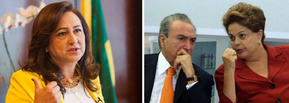 """Através de sua conta no Twitter, a ministra da Agricultura, Kátia Abreu, disse nesta segunda-feria, 10, acreditar na Justiça e ter convicção de que inocentes e culpados serão conhecidos de todos. """"Aqueles que envergonham o Brasil serão punidos. Os inocentes não podem pagar pelos infratores. Vamos separar o joio do trigo"""", afirmou; Kátia fez uma defesa do seu companheiro de partido; """"O vice-presidente Michel Temer, do PMDB, tem sido um articulador competente e leal ao governo. Vamos superar as crises, o Brasil é forte"""", observou;""""Temos gente muito boa no nosso País. Injustiça não. Quem investiga, julga e pune é a Justiça. Temos que ter paciência e aguardar. É a demora da democracia. Optamos por ela e não pela barbárie"""", afirmou"""