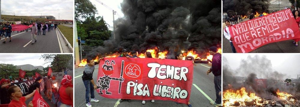 """Protestos contra o vice Michel Temer ocorrem em nove estados na manhã desta quinta-feira; em São Paulo, são 14 bloqueios organizados pelo MTST, que também coordena as ações no Rio de Janeiro, Curitiba, Porto Alegre, Recife, Fortaleza, Goiânia, Uberlândia e Brasilia; em Belo Horizonte e no interior de Minas os atos são coordenados pelas Brigadas Populares e pelo MLB (Movimento de Luta nos Bairros e Favelas), que também compõem a Povo Sem Medo; """"Esse é um primeiro recado que a gente está mandando para o Temer e o Cunha"""", afirma Zelidio Barbosa Lima, coordenador do movimento"""