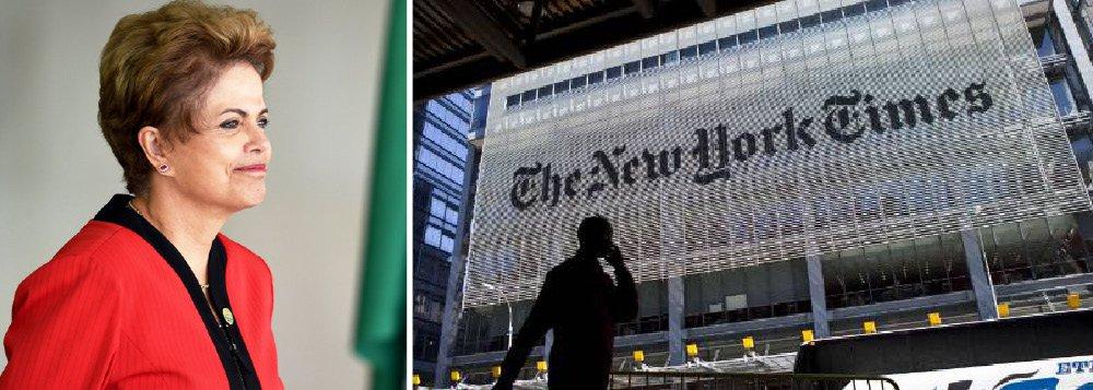 """Em editorial publicado nesta segunda (17), o mais importante jornal do mundo, o New York Times, saiu em defesa do mandato da presidente Dilma Rousseff; """"Dilma não fez - o que é admirável - nenhum esforço para constranger ou influenciar as investigações. Ao contrário, ela tem consistentemente enfatizado que ninguém está acima da lei, e apoiou a renovação da gestão do atual procurador-geral da república, encarregado das investigações sobre a Petrobrás, Rodrigo Janot"""", diz o texto, que ressalta ainda que """"não há nada que sugira que nenhum dos líderes políticos que querem lhe tomar o lugar faria melhor do que ela em termos de política econômica"""""""