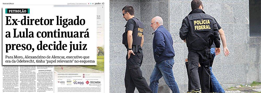 """""""Ex-diretor ligado a Lula continuará preso, decide juiz"""", diz a Folha de S. Paulo, em letras garrafais, sobre a conversão da prisão temporária de Alexandrino Alencar, ex-Odebrecht, em preventiva; internamente, não há uma única referência ao ex-presidente Lula; diz-se apenas que Alexandrino é """"um dos principais elos da empresa com políticos""""; de fato, como ex-diretor de Relações Institucionais da Odebrecht, Alexandrino fazia a ponte entre a construtora e grupos de influência, ou seja, com políticos de todos os partidos, incluindo FHC, e também com meios de comunicação, como a própria Folha; a questão é: por que, na manchete, ele é apresentado como """"ligado a Lula""""?"""