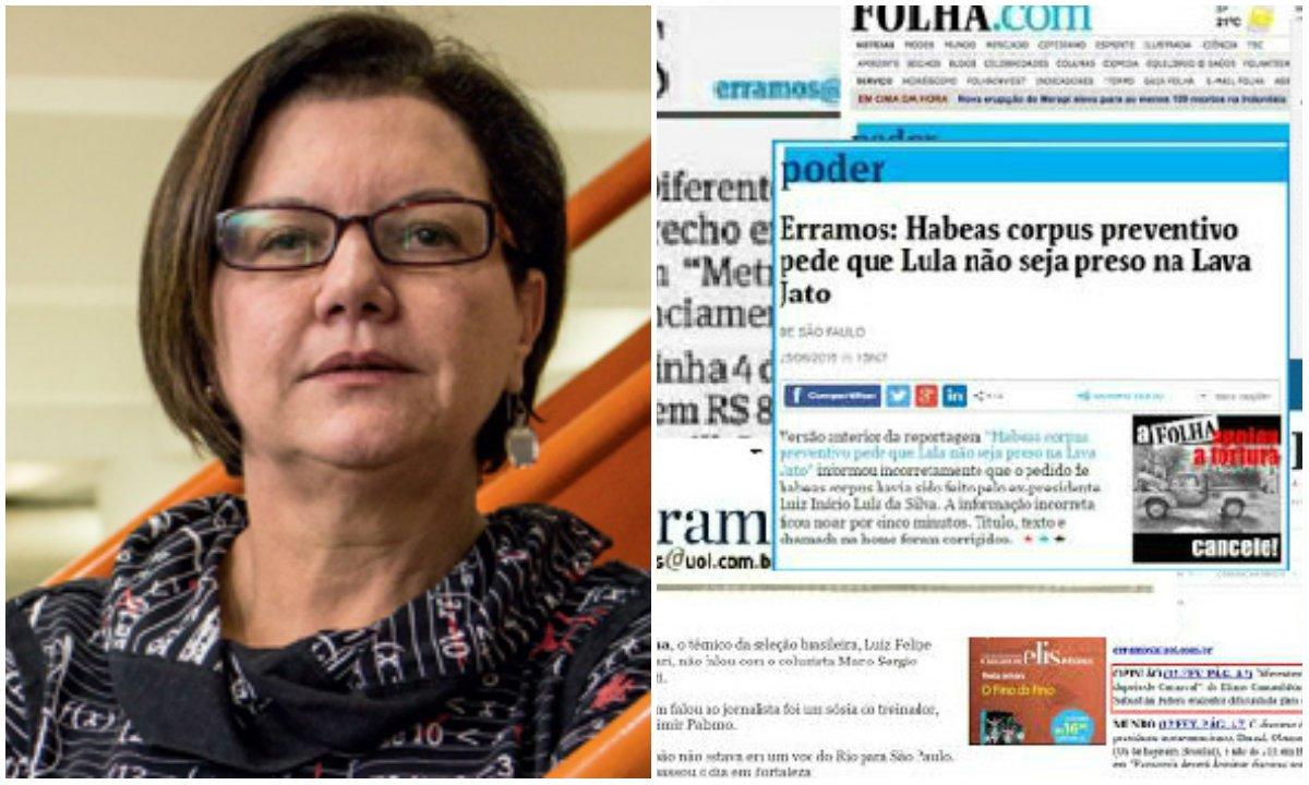 """Jornalista Vera Guimarães Martins destaca, entre outros erros cometidos pelo jornal na última semana, a manchete que atribuiu a Lula o habeas corpus que pedia para que ele não fosse preso; """"Problema: a notícia foi ao ar antes que a reportagem ouvisse o Instituto Lula""""; Vera também afirma que a seção """"Erramos"""", no site, """"foi pensada para não aparecer"""""""