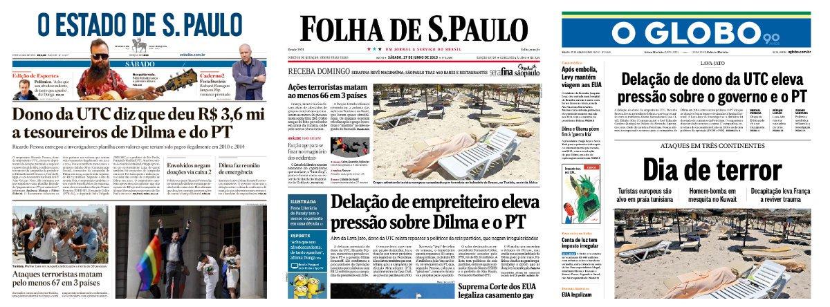 Folha e Globo imprimiram manchetes praticamente idênticas neste sábado, sugerindo que a delação de Ricardo Pessoa, dono da UTC Engenharia, eleva a pressão sobre a presidente Dilma e o PT; Estado de S. Paulo foi na mesma linha; a referência a nomes de oposicionistas, como Aloysio Nunes (PSDB-SP), Júlio Delgado (PSB-MG) e também ao tesoureiro do Solidariedade, de Paulinho da Força, foram solenemente ignoradas
