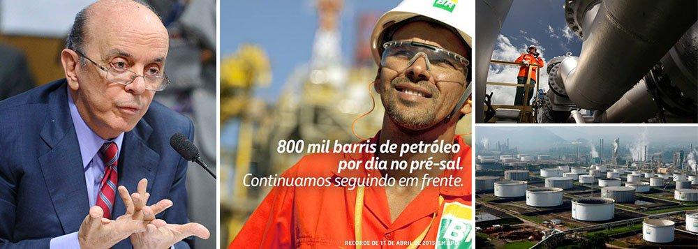 """Fernando Brito ressalta o novo recorde deprodução diáriapetróleo nos campos operados pela Petrobras, que atingiu, no dia 11 de abril, a marca de 800 mil barris por dia (bpd), atingindonovo recorde de produção diária; Desse volume, cerca de 74% (590 mil bpd) correspondem à parcela da companhia e o restante à das empresas parceiras nas diversas áreas de produção da camada pré-sal; 'É deste """"peso"""" imenso que os """"muy amigos"""" da Petrobras querem """"livrar"""" a empresa, pela carga de investimento necessária para explorá-lo e, de quebra, """"aliviar"""" o Brasil do """"sacrifício """" de ser um grande no petróleo', diz ele, em referência a projetos como o do senador José Serra que defende a abertura do pré-sal para estrangeiros"""