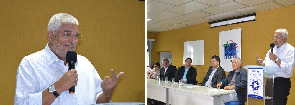 O novo superintendente do Ibama em Sergipe, Silvio Santos, foi empossado nesta segunda (10), em solenidade que ocorreu na Associação dos Engenheiros Agrônomos de Sergipe (Aease); o evento reuniu prefeitos, parlamentares, gestores e profissionais da área ambiental, além de servidores da autarquia; ele afirmou que irá atuar em cooperação com os órgãos ambientais do Estado e dos municípios, ampliando o diálogo, em buscas dos melhores resultados; em seus discursos, Silvio, Márcio Macêdo e Ana Lúcia ressaltaram também a confiança na superação do momento político adverso, pelo qual passa o país e criticaram as tentativas de golpe