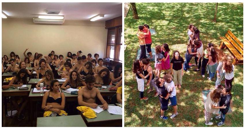 """Fotos feitas por alunos do Colégio Santa Cruz, em São Paulo, repercutem nas redes como se tivessem sido tiradas em """"aulas práticas"""" de sem-vergonhice"""