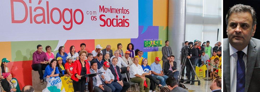 """Depois de virar o jogo do golpe, com vitórias importantes nesta semana, a presidente Dilma Rousseff se reuniu com representantes de movimentos sociais em Brasília e mandou um recado direto ao senador Aécio Neves: """"Uma coisa que devemos ter e que eu acho muito importante é o respeito ao adversário. Que é o seguinte: eu brigo até a hora do voto, depois eu respeito o resultado da eleição""""; ela citou em seguida a importância do 'fair play' no esporte, e ressaltou: """"respeite o resultado e respeite e honre o adversário. Porque se não respeitar o resultado, você não pode entrar no jogo""""; segundo Dilma, """"o Brasil não deve tomar as palavras de golpismo de Carlos Lacerda sobre Getúlio"""";sobre os protestos de domingo 16, ela comentou: """"Não vejo problema e nunca verei problema em manifestação"""""""