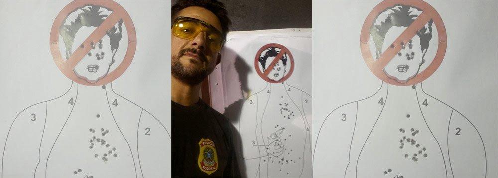 Agente Danilo Mascarenhas Balas foi suspenso por quatro dias por ter utilizado uma caricatura da presidente Dilma Rousseff como alvo para treinar disparos de arma de fogo e, em seguida, postar a imagem da presidente crivada de balas nas redes sociais