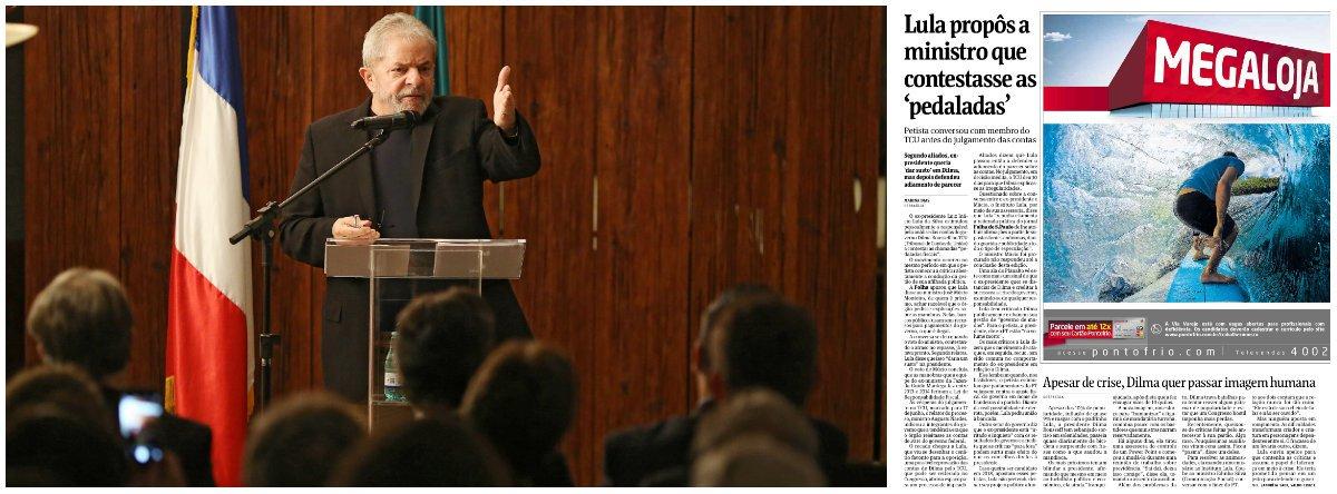 """Em nota, ex-presidente rebate reportagem publicada neste domingo que afirma que o petista teria conversado com membros do TCU e """"estimulado pessoalmente"""" o responsável pela análise das contas do governo Dilma no tribunal, o ministro José Múcio Monteiro, a """"contestar as chamadas 'pedaladas fiscais'""""; Instituto Lula contesta a """"estranha mania"""" da Folha de, """"sem nenhuma procuração ou comprovação, atribuir declarações ao ex-presidente a partir de fontes anônimas""""; a entidade enviou na sexta-feira resposta ao jornal negando o fato, mas não foi publicada; hoje mesmo a ombudsman da Folha apontou erro grave do jornal em relação a Lula esta semana, no caso relacionado ao habeas corpus"""