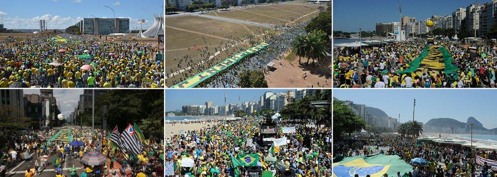 Manifestações deste domingo, em várias capitais do País, são menores do que as ocorridas em março deste ano, mas reuniram dezenas de milhares de pessoas; manifestantespediam o impeachment da presidente Dilma Rousseff e gritavam palavras de ordem contra o PT, a corrupção e de apoio ao juiz federal Sergio Moro, responsável pelos processos da operação Lava Jato;os protestos pelo impeachment de Dilma acontecem em meio a um certo alívio conseguido pela presidente na última semana; seu governo se reaproximou do presidente do Congresso Nacional, Renan Calheiros (PMDB-AL), e do Senado, fazendo um contraponto à situação difícil enfrentada na Câmara dos Deputados, cujo presidente Eduardo Cunha (PMDB-RJ) rompeu com o governo após ser acusado por um delator da Lava Jato de pedir propina