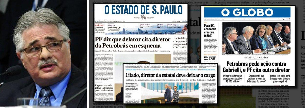 """Citado na Operação Lava Jato por erro da Polícia Federal, o atual diretor de abastecimento da Petrobras, José Carlos Cosenza foi massacrado; ganhou as manchetes principais do Estado de S. Paulo e de O Globo e, nesta quarta-feira, foi """"demitido"""" pela Folha de S. Paulo; agora, um delegado assume que o nome dele foi incluído na operação por erro; é o mesmo delegado que, nas redes sociais, havia chamado o ex-presidente Lula de """"anta""""; qual é a reparação justa para José Carlos Cosenza?"""