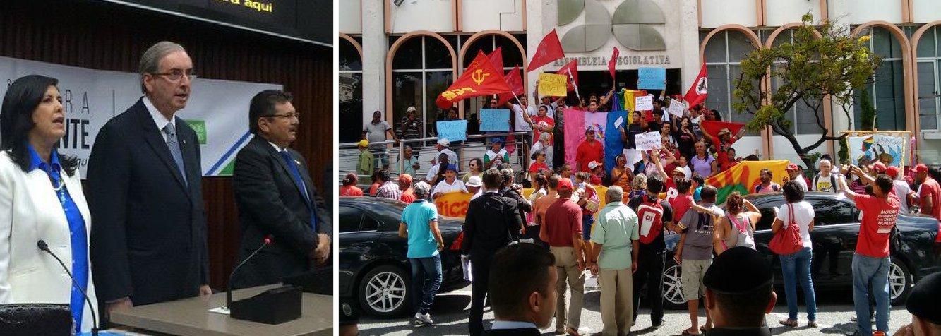 """Manifestantes que grivatam """"fora, Cunha"""" entraram em confronto com seguranças da Assembleia Legislativa da Paraíba; eles promoveram um apitaço e jogaram ovos quando o presidente da Câmara entrou no local; protesto acabou desbancando para a violência quando os seguranças tentaram impedir o acesso dos manifestantes às galerias da Casa; Eduardo Cunha, que já foi alvo de protestos no Rio Grande do Sul e em São Paulo durante a passagem do seu projeto 'Câmara itinerante', atribuiu a responsabilidade da confusão ao PT"""