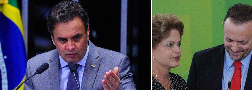 """Após reunião nesta terça-feira 30, líderes e presidentes de partidos da oposição decidiram entrar com uma açãona Procuradoria-Geral da República contra a presidente Dilma Rousseff e o ministro Edinho Silva, que foi tesoureiro da campanha presidencial do PT em 2014; o motivo seria a pressão que o delator Ricardo Pessoa, da UTC, disse ter sofrido para fazer doação à campanha do PT; """"Há ali, explicitado por ele, uma clara chantagem"""", comentou Aécio Neves (PSDB-MG); na escalada política contra Dilma, liderada por Aécio, os oposicionistas vão entrar ainda com mais uma representação junto ao TCU alegando que as chamadas """"pedaladas fiscais"""" continuam em 2015; o próprio tribunal, porém, está com a credibilidade abalada após ter sido citado na delação do dono da UTC no âmbito da Lava Jato"""