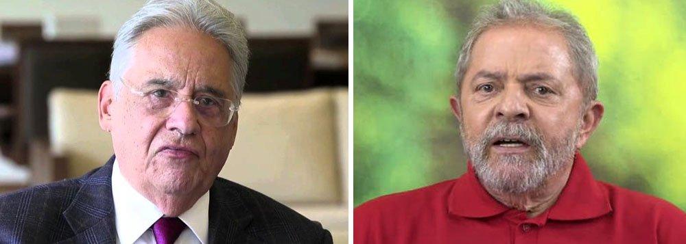 """""""E vou dizer uma coisa arriscada: o Lula perde hoje. Hoje [se Dilma cai e fazem novas eleições], o Lula perde. Mas não penso eleitoralmente. Sou democrata"""", disse o ex-presidente tucano FHC; segundo ele, em 2005 havia possibilidade legal de pedir impeachment contra Lula; """"Agora, quem está processando a Dilma por algo que ela fez? Não tem"""";questionado sobre casos de propina na Petrobras que começaram no seu governo, ele disse: """"Pode ter havido corrupção no meu governo? Houve muito homicídio no meu governo, sabia? Marido matou mulher, mulher matou marido. O que eu tenho a ver com isso? Não há nem acusação desse tipo de organização no meu governo""""; durante seu governo, FHC foi acusado da compra de votos no Congresso para a reeleição"""