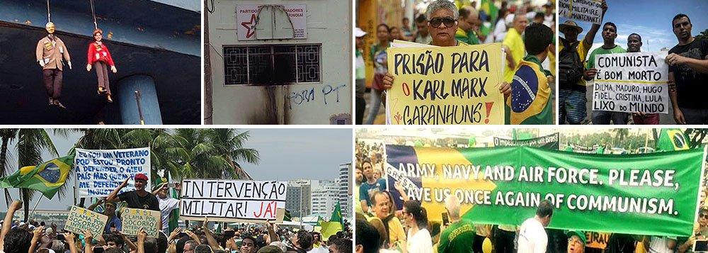 """Plínio Zúnica denuncia o caráter fascista das manifestações de ontem, que reuniram multidões no País e espalharam imagens constrangedoras, como os pedidos de intervenção militar, o incêndio a uma sede do PT e as imagens de Dilma e Lula enforcados; """"Vocês fizeram coro com gente carregando suásticas, enforcando bonecos da Dilma e doLula, carregando cartazes com dizeres de puro ódio e violência"""", escreveu ele, dizendo por que se envergonhou de quem, ontem, vestiu verde e amarelo; """"é um erro grande da esquerda achar que esse é um movimento feito só por grupos de elite. A ideologia é da elite, os interesses são da elite, o dinheiro é da elite, os porta-vozes são da pior das elites, mas essa ideologia é ardilosa o suficiente pra infectar as mentes de todas as camadas sociais""""; leia a íntegra"""