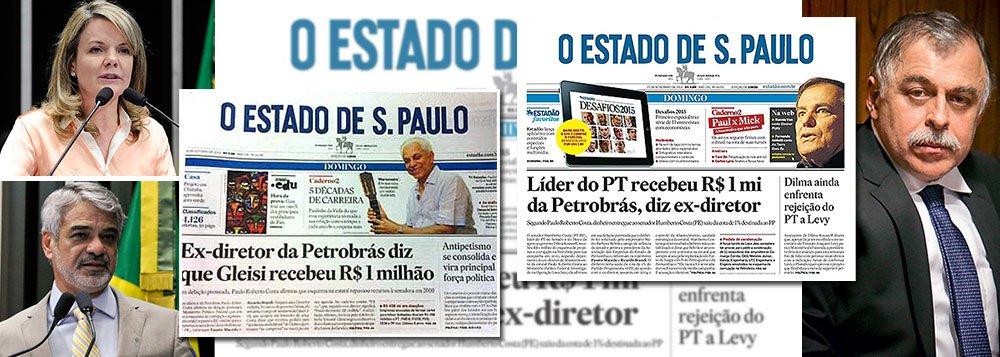 Um mês atrás, entre o primeiro e o segundo turno da eleição presidencial, um trecho da delação premiada de Paulo Roberto Costa vazou para o jornal Estado de S. Paulo; a manchete foi o suposto pagamento de R$ 1 milhão à senadora Gleisi Hoffmann (PT-PR); agora, a história se repete com Humberto Costa (PT-PE) e a mesma manchete no Estado; pelos termos da delação premiada, um delator, como Costa, só pode ser beneficiado se conseguir comprovar suas acusações; no entanto, até agora, só há sua palavra contra a dos dois senadores, já atirados na lama por um jornal que se declara favorável ao impeachment da presidente Dilma; caberia à Justiça evitar vazamentos apressados e cobrar provas do delator