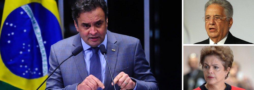 """Segundo o presidente do partido, senador Aécio Neves,""""na próxima semana, o PSDB começa a veicular inserções de 30 segundos convocando 'os indignados' com a crise a participar da manifestação nacional marcada pelos movimentos de rua, para o dia 16 de agosto""""; ato pedirá o impeachment da presidente Dilma Rousseff, como já fez em outras ocasiões; Aécio, que chegou a ser chamado de traidor por esses ativistas, agora entrou de cabeça na causa; ele também rechaçou qualquer hipótese de diálogo com o governo; """"Fernando Henrique deu o tom certo: quem pariu Mateus que o embale. Não nos culpem""""; mesmo convidando para o golpe, presidente do PSDB disse que """"se um dia tiver a oportunidade de ser presidente da República, será unicamente pelo caminho do voto, não por outra saída qualquer"""""""