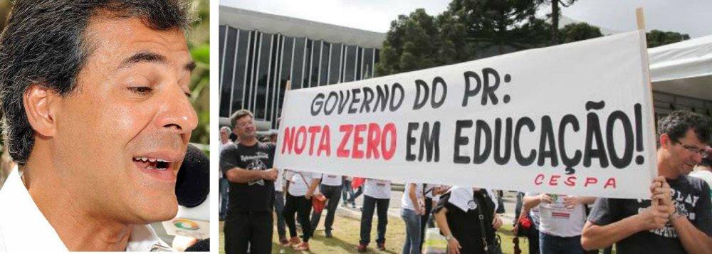 """O governador Beto Richa (PSDB) é oficialmente o primeiro gesto do estado a descumprir a lei do Programa de Desenvolvimento da Educação (PDE) desde a sua criação, há uma década; mais do que isso, ao cancelar as turmas do PDE 2015, ele descumpriu um importante item do acordo que pôs fim à greve da educação no estado; """"Por conta disso, a APP-Sindicato entrou com pedido de liminar na Justiça exigindo que se cumpra o que é de direito e determinado por lei"""", afirmou o secretário de comunicação da entidade representativa dos trabalhadores no magistério, Luiz Fernando Rodrigues"""