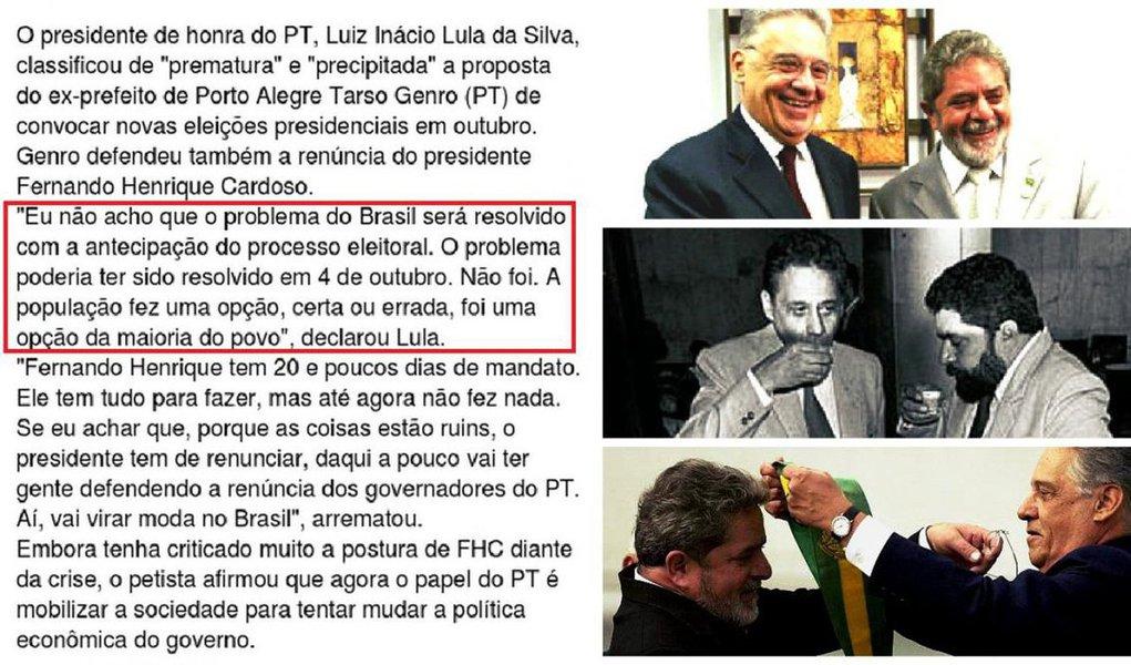 """Jornal GGN lembra que, em janeiro de 1999, quando Fernando Henrique Cardoso (PSDB) enfrentava os ataques da oposição em função da crise econômica que assolava o País à época, Lula, então presidente de honra do PT, contrariou o próprio partido e pregou respeito ao resultado das urnas: """"Eu não acho que o problema do Brasil será resolvido com a antecipação do processo eleitoral. O problema poderia ter sido resolvido em 4 de outubro. Não foi. A população fez uma opção, certa ou errada, foi uma opção da maioria do povo"""", declarou Lula, na época"""