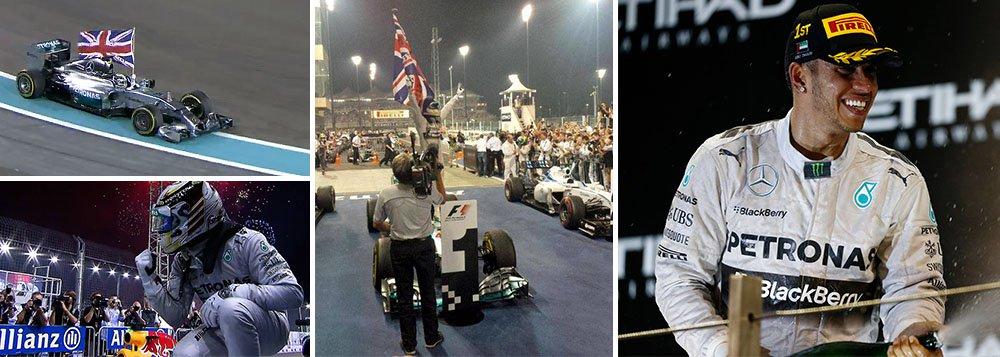 Piloto britânico tornou-se campeão do mundo de Fórmula 1 pela segunda vez ao vencer a última corrida da temporada pela Mercedes, em Abu Dhabi, nos Emirados Árabes, neste domingo; Felipe Massa foi o segundo colocado no GP, com o colega de equipe Valtteri Bottas em terceiro; na comemoração, ele imitou o ídolo Ayrton Senna ao empunha uma bandeira do Reino Unido ainda no carro