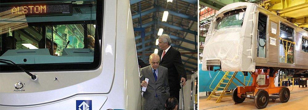 Justiça acusa seis executivos da Alstom, Tejofran, MPE e Temoins de formação de cartel e fraude em licitações para a reforma de 51 trens da Linhas 1- Azul e 47 trens da Linha 3- Vermelha do Metrô nos anos de 2008 e 2009, durante a gestão José Serra (PSDB) no governo de São Paulo; contratos, estimados inicialmente em R$ 1,5 bilhão, foram vencidos pelo valor de R$ 1,7 bilhão; um dos réus éCésar Ponce de Leon, que foi diretor da Alstom e hoje vive na Espanha