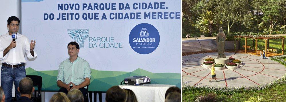 """""""Procuramos fazer um projeto completo que dialogasse com as principais preocupações no esporte, cultura, lazer, tudo com acessibilidade, e esse será um parque em perfeita sintonia com toda a vizinhança. E sabemos que uma área de 72 hectares precisa de proteção. Quero ver aqui a mesma fotografia que vejo em São Tomé de Paripe, Tubarão, Ribeira e na Barra, com as pessoas voltando a viver a cidade"""", disse o prefeito ACM Neto (DEM), que assinou a ordem de serviço para início das obras nesta segunda"""