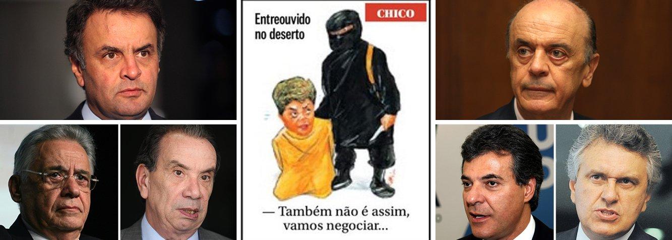 """Vinte e quatro horas depois que o cartunista Chico Caruso preparou a cena da degola da presidente Dilma Rousseff, em pleno Dia Internacional da Mulher, lideranças do PSDB disputaram o papel do Jihadista John, o cortador de cabeças do Estado Islâmico; enquanto José Serra e Beto Richa argumentaram em favor do impeachment, FHC e Aécio Neves defenderam a tese do 'sangramento', defendida publicamente pelo senador Aloysio Nunes, o pit bull da esquadra tucana; os cinco neoudenistas ganharam ainda o apoio de outra reserva moral da Nação, o ruralista Ronaldo Caiado, do DEM, que contestou a tese do sangramento; """"quero a cura"""", disse ele, referindo-se à cabeça de Dilma Rousseff numa bandeja"""