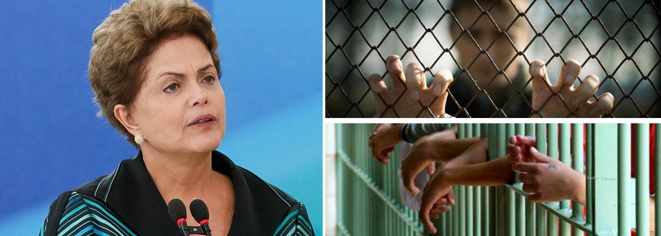 """""""Não podemos permitir a redução da maioridade penal. Lugar de meninos e meninas é na escola. Chega de impunidade para aqueles que aliciam crianças e adolescentes para o crime"""", publicou hoje a presidente nas redes sociais; título do texto - """"Sou contra a redução da maioridade penal"""" - deixa bastante clara a posição de Dilma Rousseff sobre a proposta que tramita na Câmara e é alvo de duras críticas por parte de governistas e pelo PT; segundo ela,""""reduzir a maioridade penal não vai resolver o problema da delinquência juvenil""""; presidente destaca que ser contra """"não significa dizer que eu seja favorável à impunidade"""""""