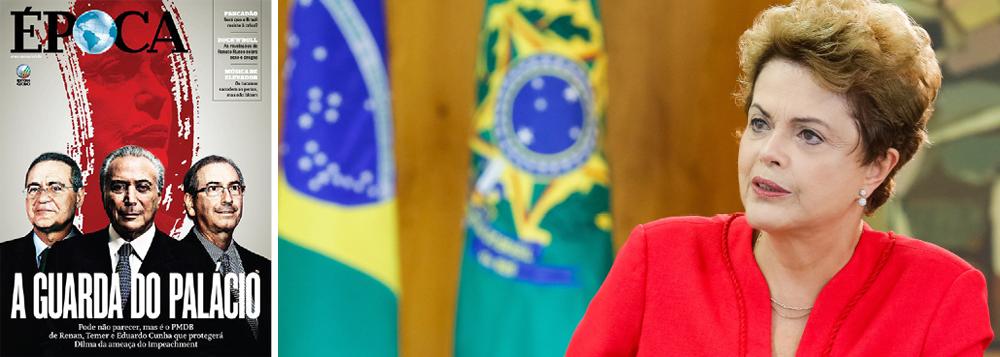 Edição deste fim de semana da revista Época, da família Marinho, jogou a toalha do impeachment; revista chegou à conclusão de que o trio formado pelo senador Renan Calheiros (PMDB-AL), pelo vice Michel Temer e pelo deputado Eduardo Cunha (PMDB-RJ) protegerá a presidente Dilma Rousseff da ameaça do impeachment; edição de Veja também desembarcou do golpe, num indício de que os grupos de mídia oligárquicos já abandonam o senador Aécio Neves (PSDB-MG), favorecendo projetos de poder alternativos, como do governador Geraldo Alckmin e do senador José Serra