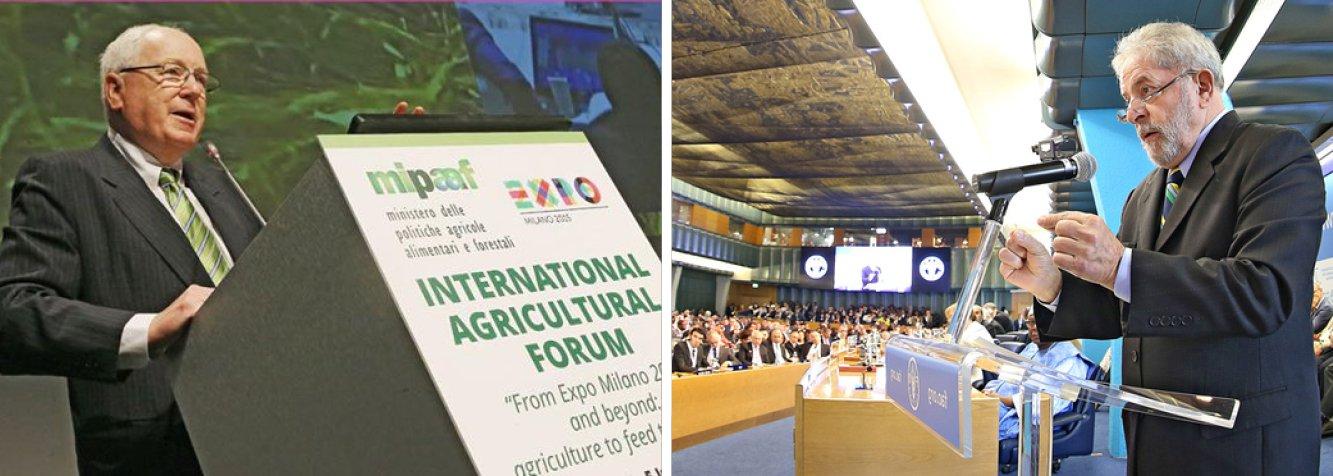 """Frase foi dita por Kenneth M. Quinn, que atuou durante 32 anos no Departamento de Estado norte-americano e hoje preside a World Food Prize Foundation, instituição que premia cidadãos que mais contribuem para o combate à fome no mundo;""""Repartir o pão é o primeiro passo para construir a paz"""" disse Lula na39º Conferência da Organização das Nações Unidas para a Alimentação e a Agricultura (FAO), em Roma"""