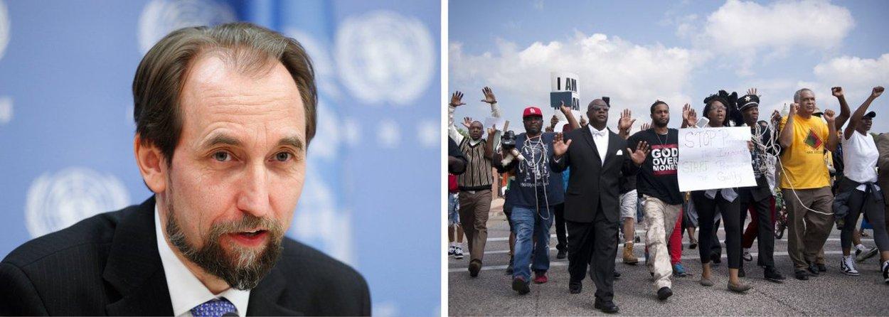 """As autoridades dos Estados Unidos devem reavaliar como as questões raciais afetam a aplicação da lei e a Justiça, visando lidar com uma """"profunda e purulenta"""" desconfiança presente em alguns setores da população, disse o alto comissário de Direitos Humanos da ONU, Zeid Ra'ad Al Hussein, em comunicado"""
