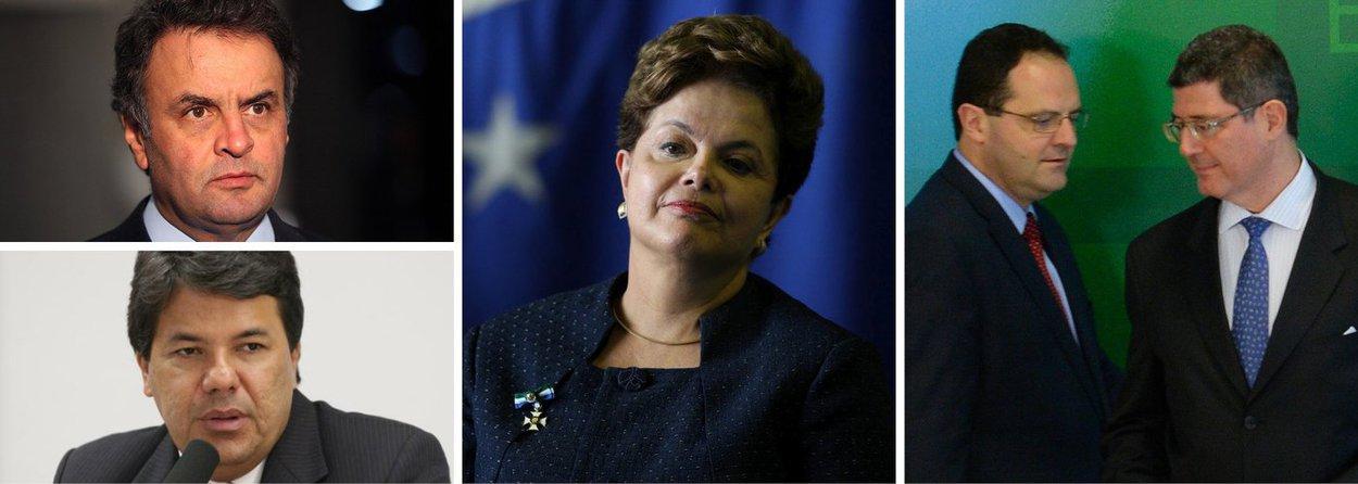 A oposição criticou a nova equipe econômica do governo Dilma Rousseff, anunciada nesta quinta (27); o senador Aécio Neves (PSDB) considerou a escolha uma tentativa de acalmar o mercado financeiro; no entanto, avalia Aécio, outras manobras fiscais da presidente acabam levando o país ao descrédito, caso da tentativa de rever a meta de superávit para este ano; olíder do DEM na Câmara, Mendonça Filho considerou que as escolhas de Dilma representam o oposto do que ela prometeu ao longo da campanha eleitoral