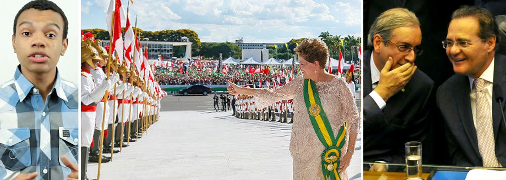 """Líderes do MBL (Movimento Brasil Livre), Fernando Silva disse que a presidente Dilma Rousseff (PT) já não comanda mais o Brasil e que ela se tornou uma espécie de Rainha da Inglaterra no Palácio do Planalto: """"Quem governa o país hoje é o Eduardo Cunha e o Renan Calheiros. Ela [Dilma] é uma espécie de rainha da Inglaterra""""; grupo defende o impeachment da presidente por crime de responsabilidade por ter ficado à frente do conselho de administração da Petrobras no período em que, segundo a Operação Lava Jato, desvios se tornaram frequentes na estatal"""