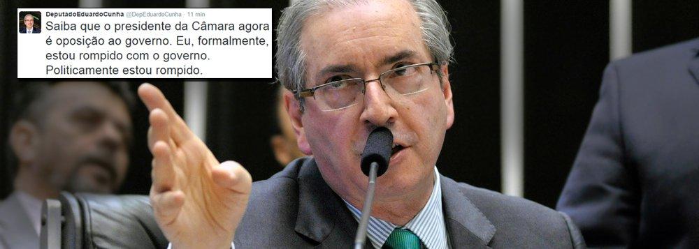 Cunha rompe com PT e fala em 'explodir o governo'