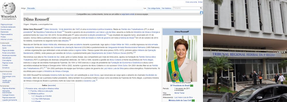 Brasil Wiki Edits, que monitora as alterações feitas na Wikipédia a partir de redes do governo e órgaõs federais disse queo perfil da presidente Dilma Rousseff foi alterado na noite de terça-feira, 10; mudança foi feita a partir de um computador do TRF da 1ª Região e sugere que o mandato de Dilma se encerra em 2015, sendo ela sucedida por Michel Temer (PMDB), atual vice