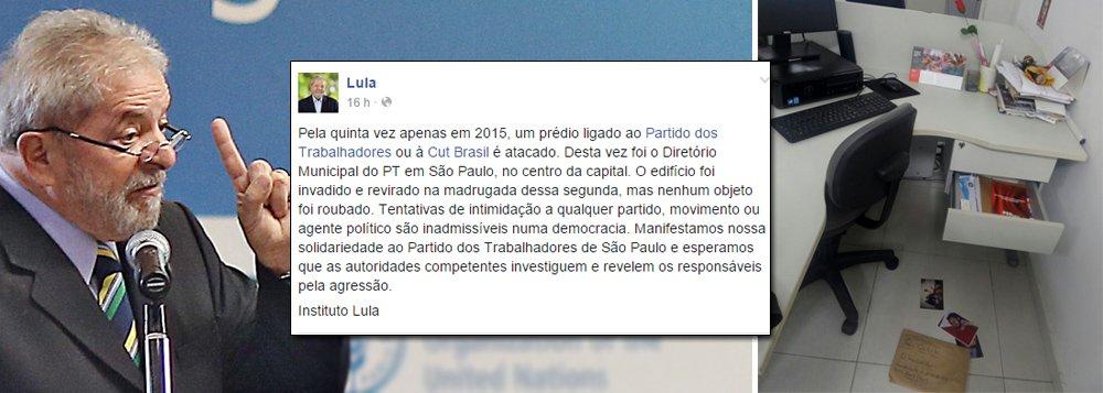 """Em texto publicado nas redes sociais, o ex-presidente lembra do quinto ataque """"apenas em 2015"""" a um prédio ligado ao Partido dos Trabalhadores ou à CUT ao criticar invasão no Diretório Municipal do PT em São Paulo na madrugada de segunda-feira; """"O edifício foi invadido e revirado, mas nenhum objeto foi roubado. Tentativas de intimidação a qualquer partido, movimento ou agente político são inadmissíveis numa democracia"""", protesta Lula; ele destaca que se espera """"que as autoridades competentes investiguem e revelem os responsáveis pela agressão""""; no dia 30 de julho, a sede do Instituto Lula, também na capital paulista, foi alvo de um ataque a bomba; a Polícia Federal investiga o caso"""