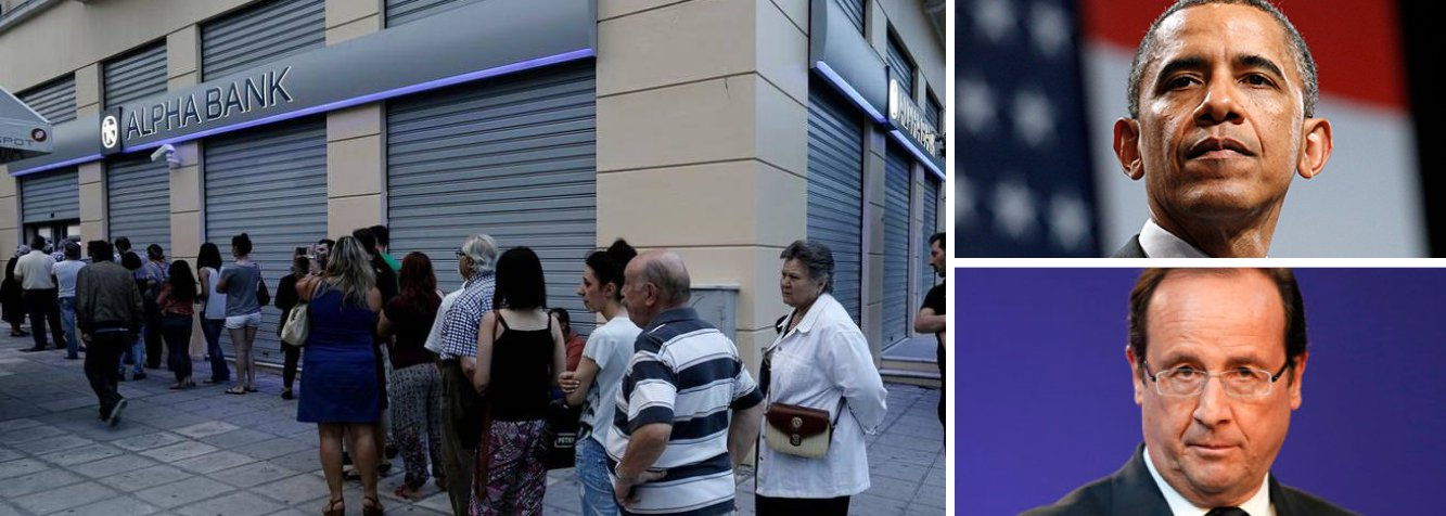 """O presidente dos Estados Unidos, Barack Obama, e o presidente da França, François Hollande, discutiram a crise da dívida da Grécia ao telefone e concordaram que é importante formular um pacote de reformas para que o país volte a crescer de forma sustentável, informou a Casa Branca nesta segunda-feira, 29; porta-voz da Casa Branca, Josh Earnest, disse que cumprir essa meta """"condiz com o interesse de todos os presentes na mesa de negociação""""; Grécia decretou feriado bancário nesta segunda-feira e já sinalizou que não irá pagara parcela de 1,6 bilhão de euros devida ao Fundo Monetário Internacional (FMI), que vence na terça-feira"""