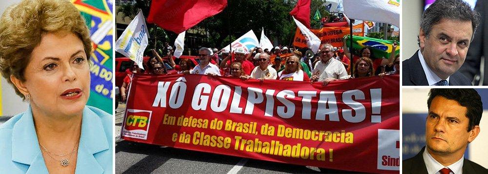 """Em manifesto, militantes de movimentos populares, sindicais, pastorais e partidos políticos reagem ao golpismo da oposição contra a presidente Dilma Rousseff: """"consideramos inaceitável e nos insurgimos contra as reiteradas tentativas de setores da oposição e do oligopólio da mídia, que buscam criar, através de procedimentos ilegais, pretextos artificiais para a interrupção da legalidade democrática"""", diz trecho do texto; grupo também denuncia 'justiceiros' do Judiciário, em referência à condução da Lava Jato pelo juiz Sérgio Moro e pela força-tarefa do MP; de acordo com o manifesto, eles querem """"substituir o papel dos outros poderes, assumir papel de Polícia e desrespeitar a Constituição"""""""
