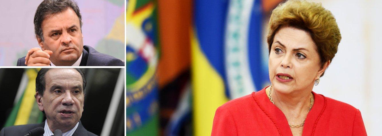 """Senador Aécio Neves (PSDB-MG) divulgou nota nesta sexta (26) sobre a delação do empresário Ricardo Pessoa, da UTC Engenharia; em seus depoimentos, ele mencionou doações ao PT, mas também a políticos de todos os partidos, incluindo o senador Aloysio Nunes (PSDB-SP), que era vice na chapa tucana; """"No que diz respeito à citação feita ao nome do senador Aloysio Nunes, são doações ocorridas dentro da legalidade e integralmente declaradas à Justiça Eleitoral no ano de 2006"""", disse ele; em relação à presidente Dilma, o raciocínio foi diferente; """"Tudo leva a crer que o Brasil, além da crise econômica que vive, enfrentará também o acirramento da grave crise política e moral que já enfrenta""""; PSDB se prepara para o golpe"""